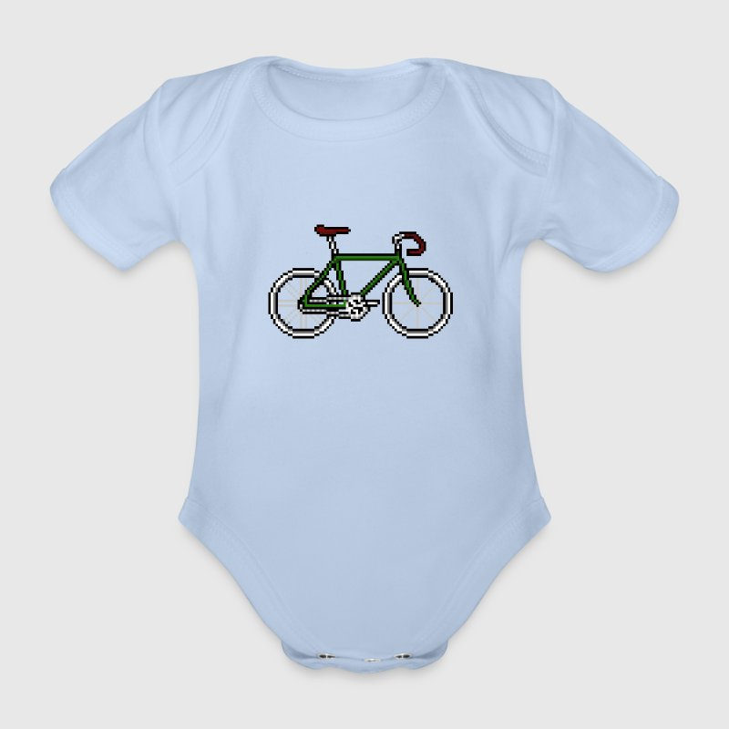 Pixel cycle bike bicycle Fahrrad Retro grün rot T-Shirts - Baby Bio-Kurzarm-Body