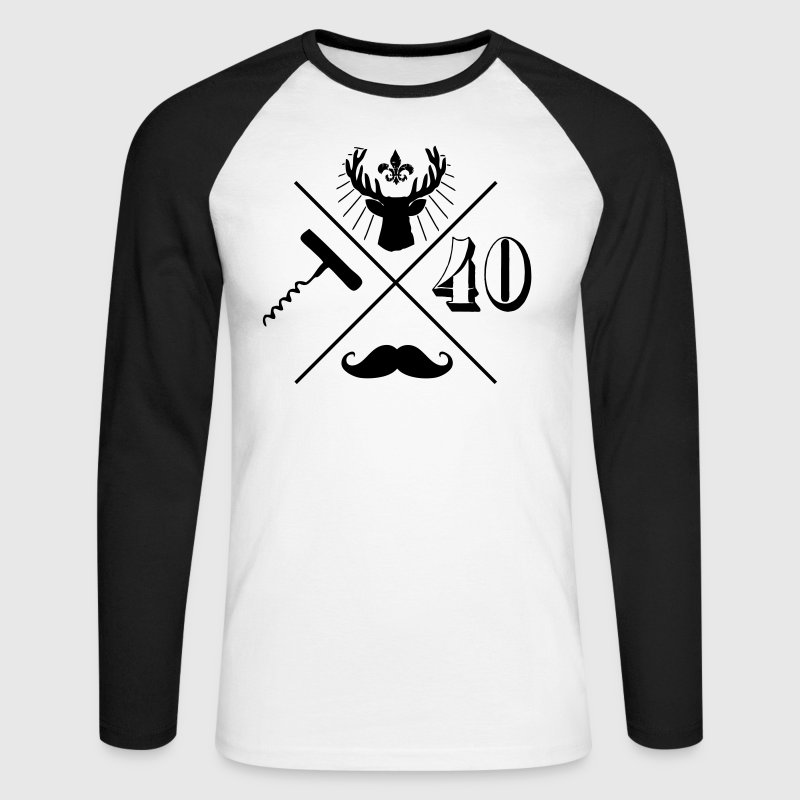 anniversaire hipster 40 ans Tee shirts manches longues - T-shirt baseball manches longues Homme