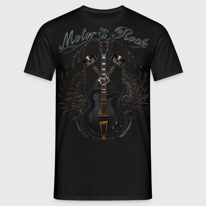 motor and rock v2 pistons guitar wings T-Shirts - Männer T-Shirt