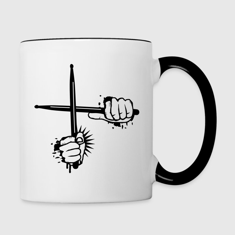 two crossed drumsticks Bottles & Mugs - Contrasting Mug