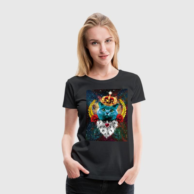 Blue Cat the King Queen - Katze mit Krone Frauen T - Frauen Premium T-Shirt