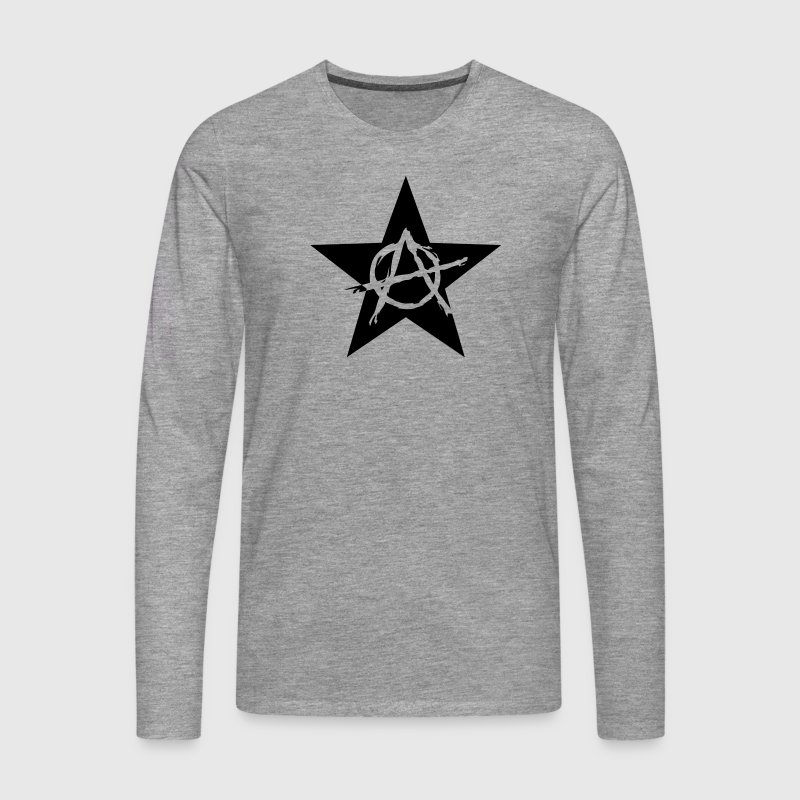 Star Anarchy chaos rebel revolution protest black  Long sleeve shirts - Men's Premium Longsleeve Shirt