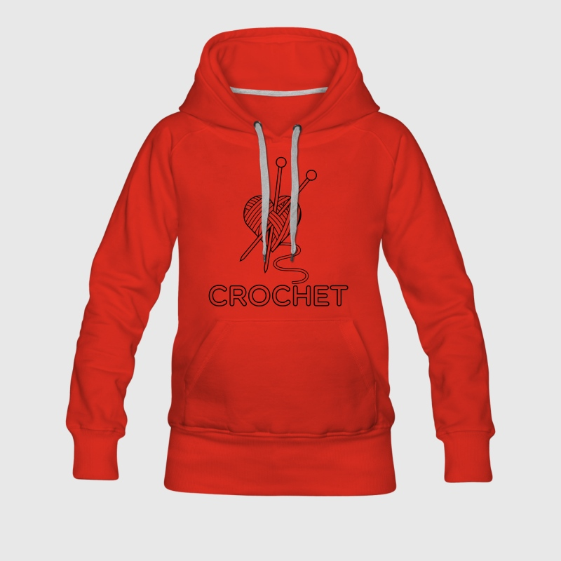 i love crochet knitting stricken häkeln yarn Hoodies & Sweatshirts - Women's Premium Hoodie