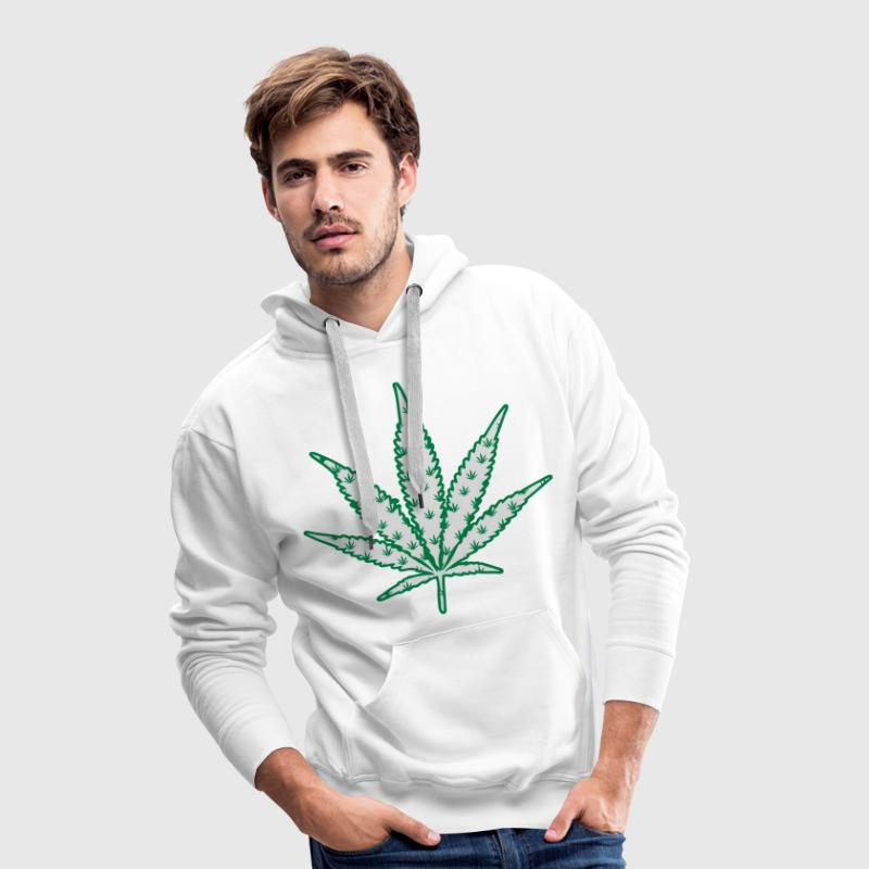 Sweat cannabis logo multiple blanc - Sweat-shirt à capuche Premium pour hommes