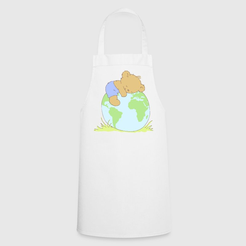 Cute Teddy Bear hugging world globe.  Aprons - Cooking Apron