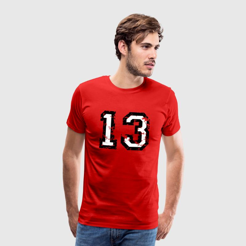 The Number Thirteen - No. 13 (two-color) white T-Shirts - Men's Premium T-Shirt
