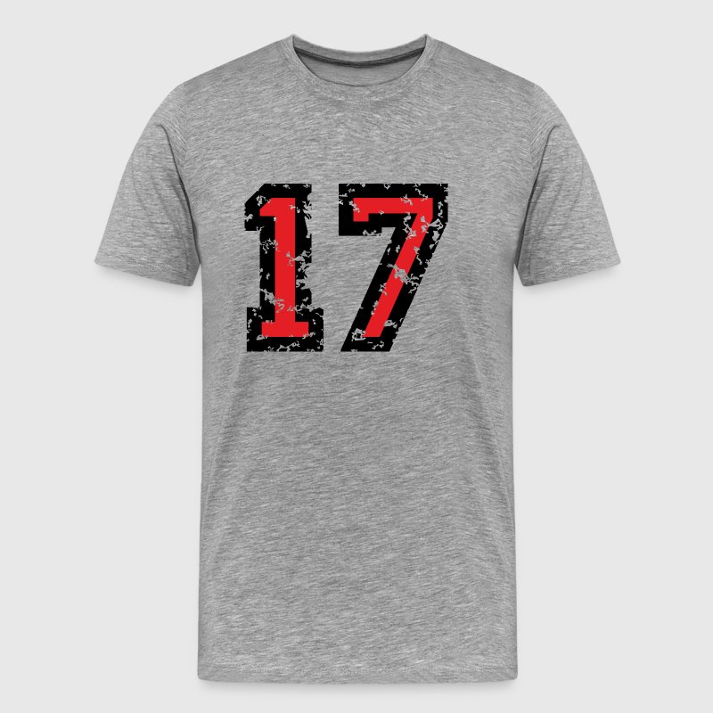 The Number Seventeen - No. 17 (two-color) red T-Shirts - Men's Premium T-Shirt