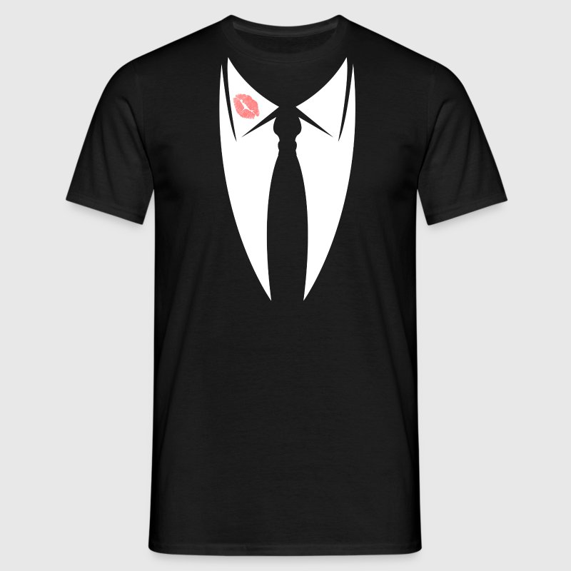 Rosebud mouth collar with tie from suit  T-Shirts - Men's T-Shirt