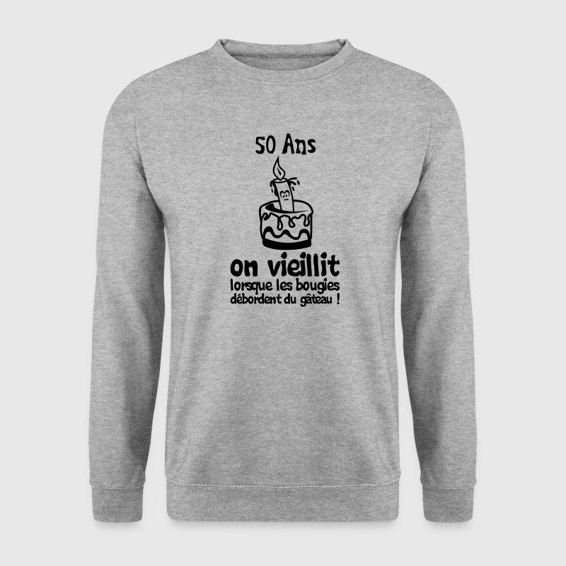 50 ans bougie debordent gateau anniversa Sweat-shirts - Sweat-shirt Homme