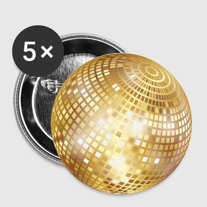Disco Ball / Mirror Glitter (Gold, PNG) Button - Buttons small 25 mm