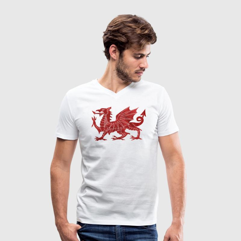 Welsh Red Dragon T-Shirts - Men's Organic V-Neck T-Shirt by Stanley & Stella