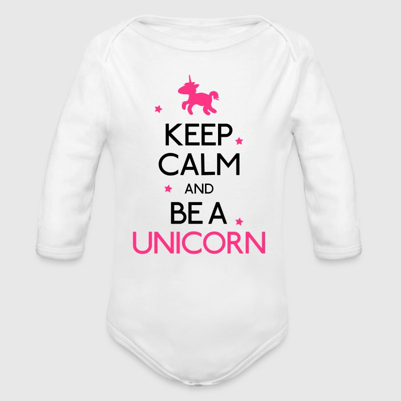 Keep Calm and be a unicorn Pullover & Hoodies - Baby Bio-Langarm-Body