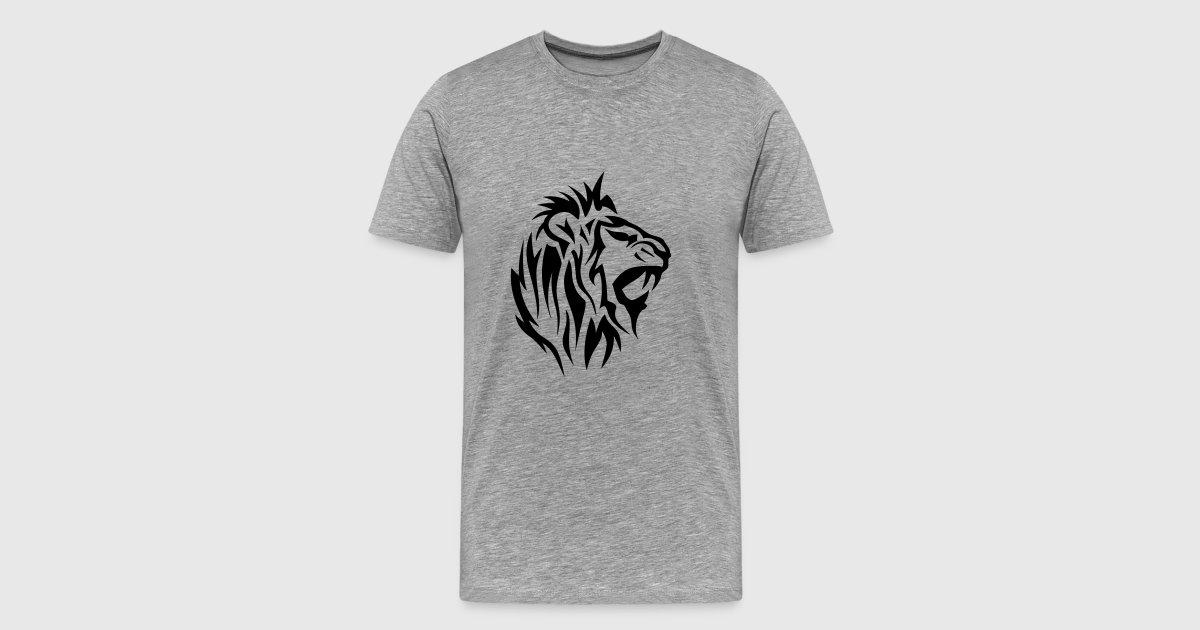 tee shirt lion tribal tatouage dessin 14025 spreadshirt. Black Bedroom Furniture Sets. Home Design Ideas