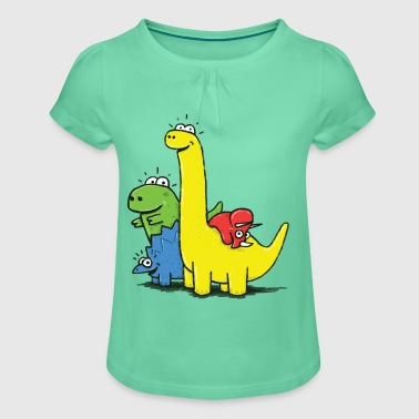 Royal blue Dino Gang, Colored Shirts - Girl's T-shirt with Ruffles