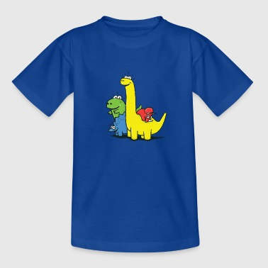 Royal blue Dino Gang, Colored Shirts - Teenage T-shirt