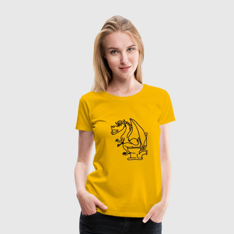 Dragon poop shitting toilet cool comic T-Shirts - Women's Premium T-Shirt