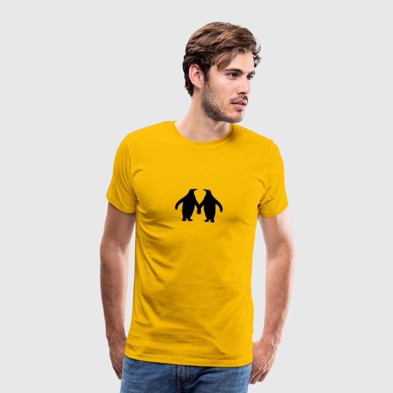 Amour couple silhouette en amour 2 pingouins Tee shirts - T-shirt Premium Homme