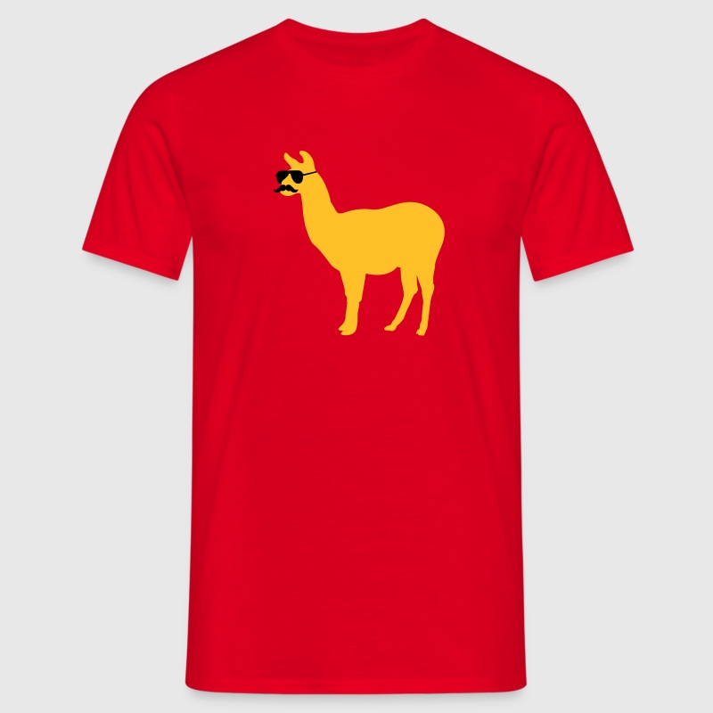 Funny llama with sunglasses and mustache Tee shirts - T-shirt Homme