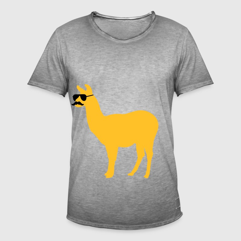 Funny llama with sunglasses and mustache Trousers & Shorts - Men's Vintage T-Shirt