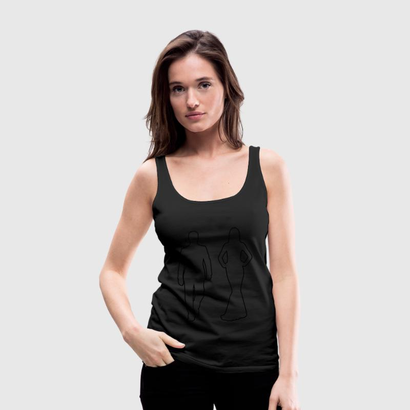 Schwarz Couple -Kontur- Tops - Frauen Premium Tank Top