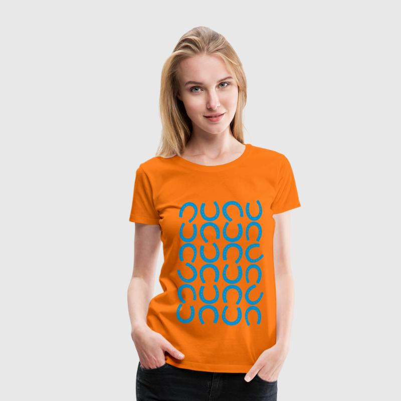 Orange Horseshoe horseshoe pattern horse shoe horse riding  equestrian Women's T-Shirts - Women's Premium T-Shirt