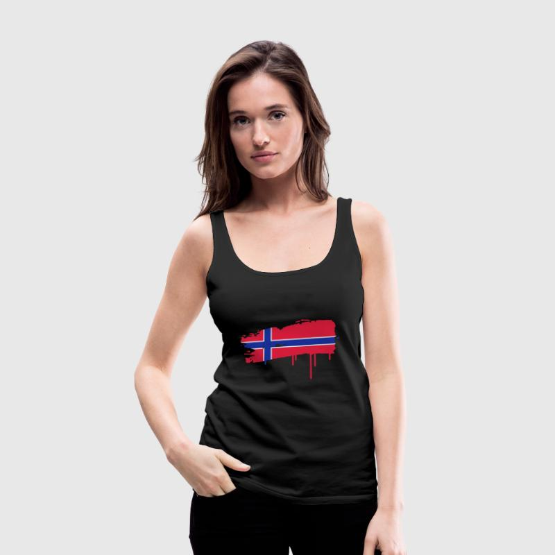 Norwegian flag painted with a brush stroke  Tops - Women's Premium Tank Top