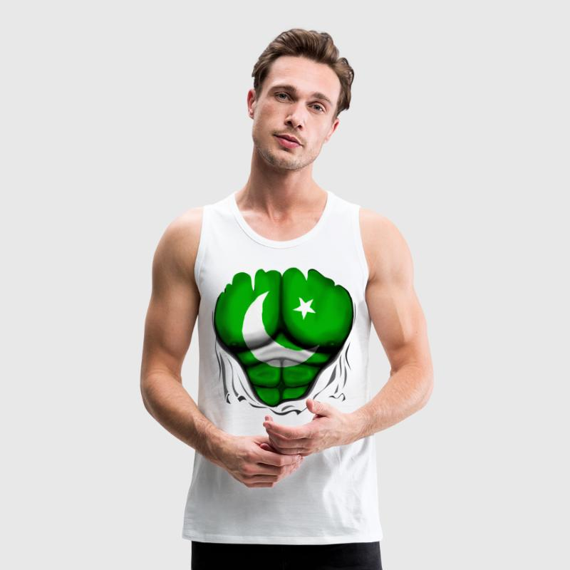 Pakistan Flag Ripped Muscles, six pack, chest t-sh - Men's Premium Tank Top