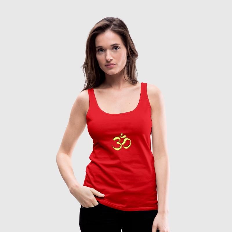 Sacred OM (AUM - I AM), gold, manifestation of spiritual strength, The energy symbol gives , peace and bliss Tops - Women's Premium Tank Top