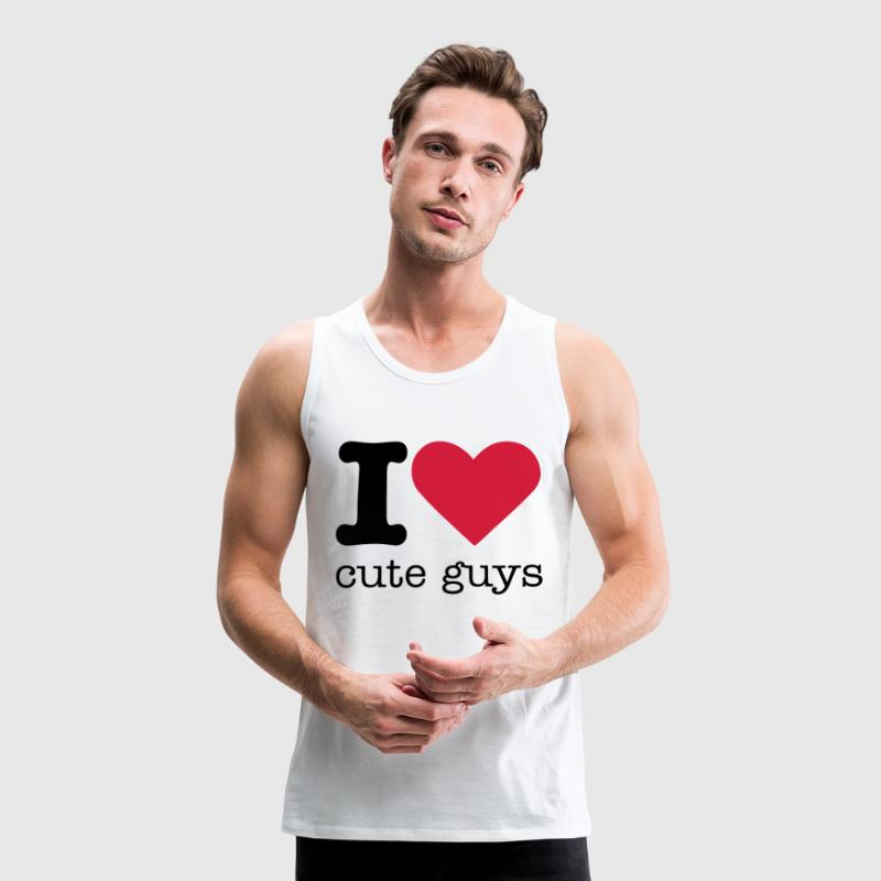 I Love Cute Guys T-Shirts - Men's Premium Tank Top