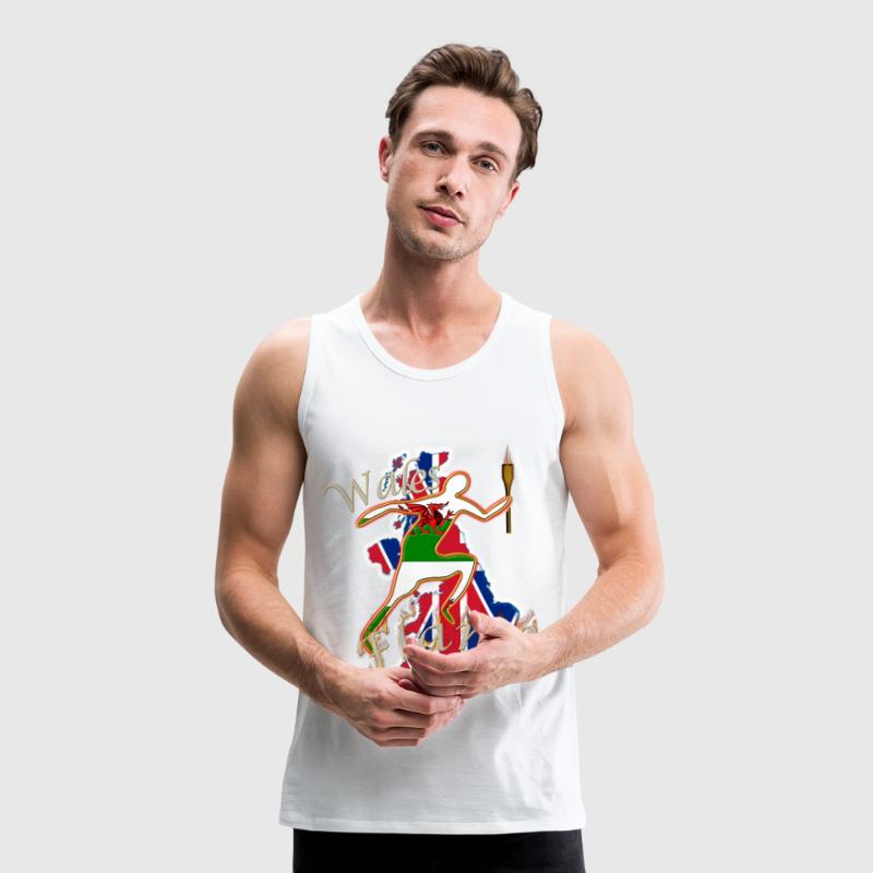 Wales dragon UK athletics runner T-Shirts - Men's Premium Tank Top