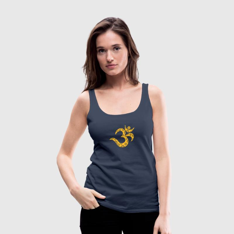 OM Mantra symbol, flowers, patterns, Aum, Buddhism Tops - Women's Premium Tank Top