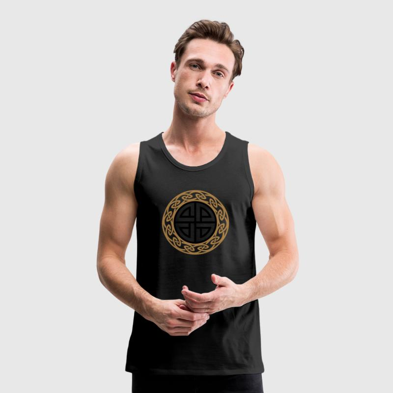 Celtic Shield Knot, Protection, Four Corner, Norse T-skjorter - Premium singlet for menn