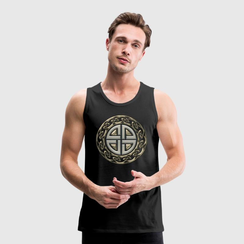 Celtic shield knot, Protection Amulet, Viking T-Shirts - Men's Premium Tank Top