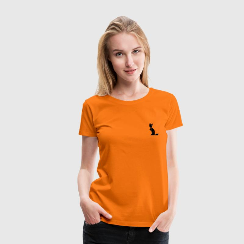 Orange Tangram Cat Women's Tees - Women's Premium T-Shirt
