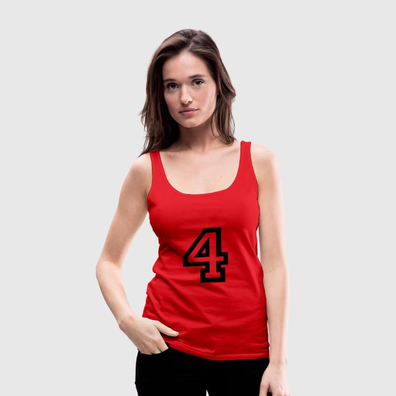 Red number - 4 - four Tops - Women's Premium Tank Top