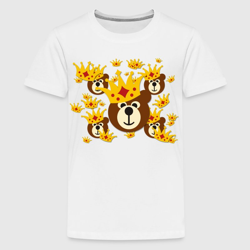 SMILING BEAR WITH CROWN / Lächelnder bär mit Krone | Kindershirt - Teenager Premium T-Shirt