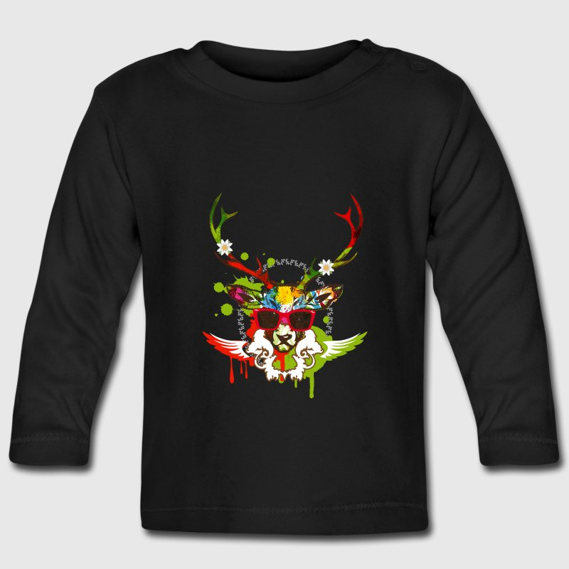 A stag's head with red sunglasses Long Sleeve Shirts - Baby Long Sleeve T-Shirt