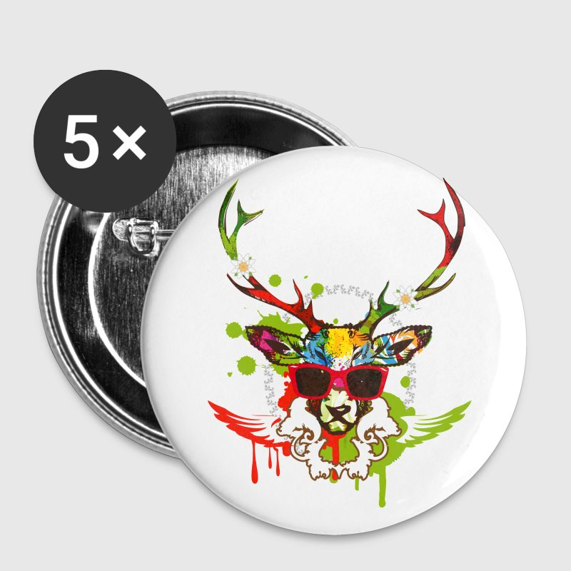 A stag's head with red sunglasses Buttons - Buttons medium 32 mm