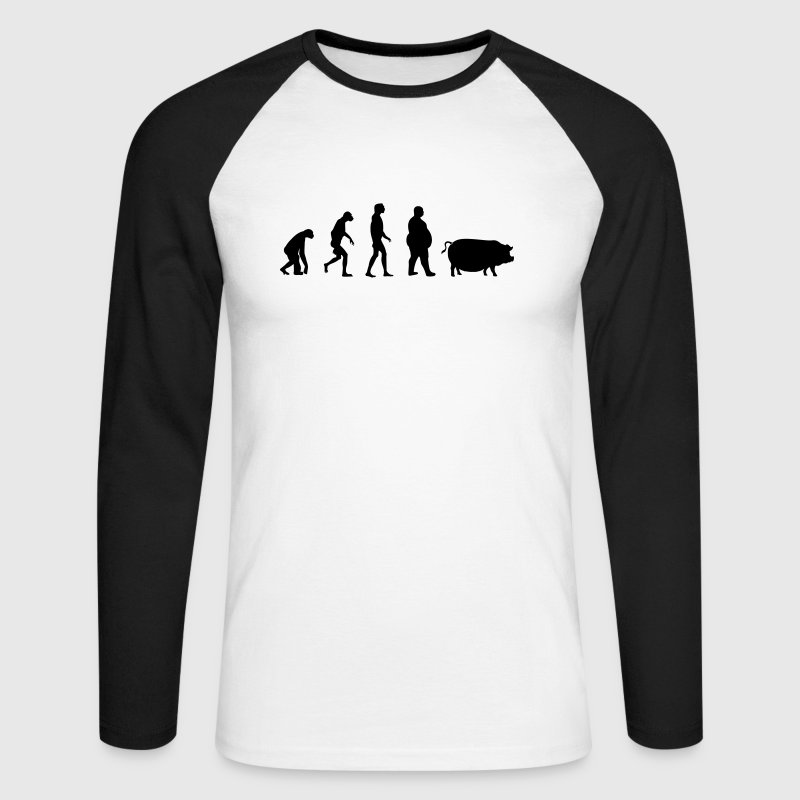 Evolution from ape to man to pig Long sleeve shirts - Men's Long Sleeve Baseball T-Shirt