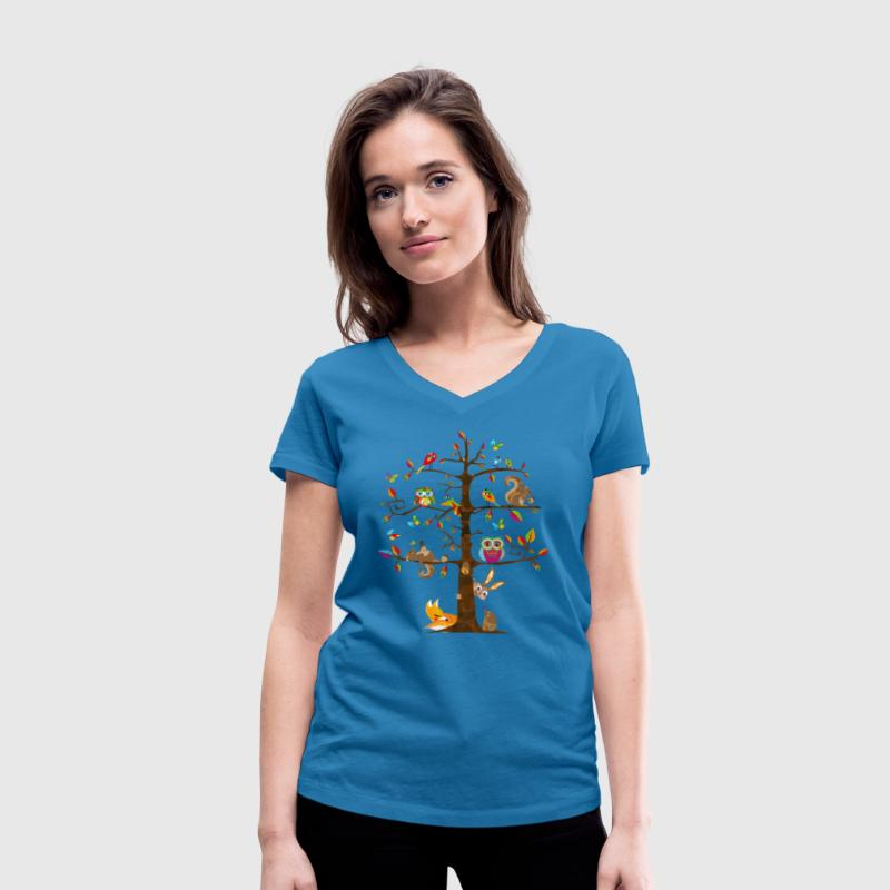 colorful animals on a tree  T-Shirts - Women's Organic V-Neck T-Shirt by Stanley & Stella