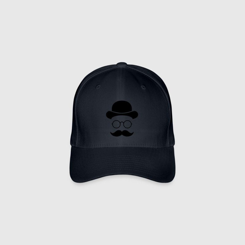 Funny vintage face with Moustache & Glasses Caps & Hats - Flexfit Baseball Cap