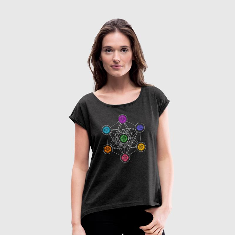 Metatrons Cube, Chakras, Cosmic Energy Centers T-Shirts - Women's T-shirt with rolled up sleeves
