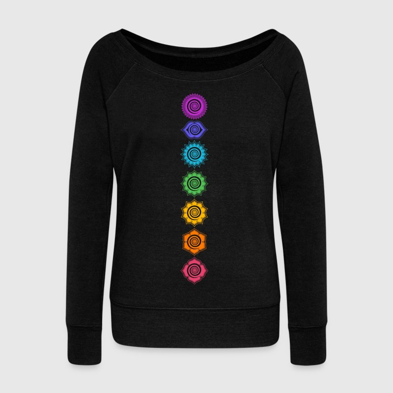 7 Chakras, Kundalini, Cosmic Energy Centers Hoodies & Sweatshirts - Women's Boat Neck Long Sleeve Top