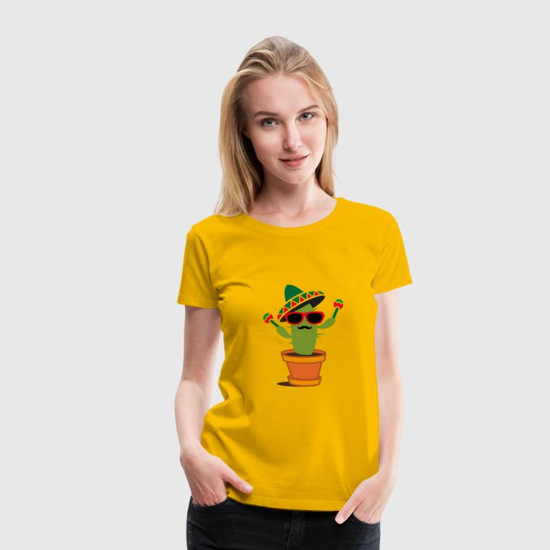 Cactus with sombrero and maracas  T-Shirts - Women's Premium T-Shirt