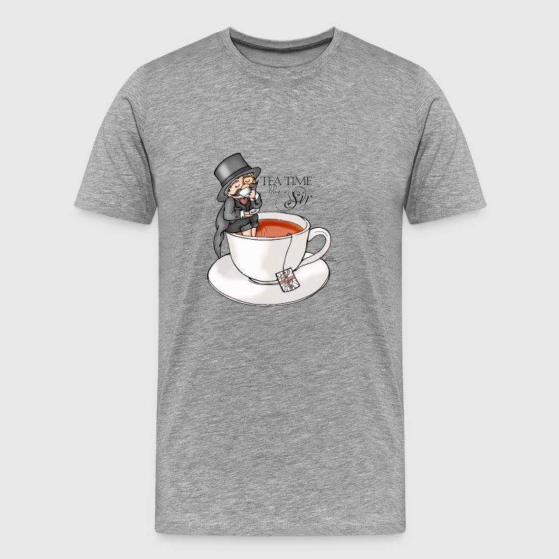 Heather grey tea time like a Sir with Earl Grey (text) T-Shirts - Men's Premium T-Shirt