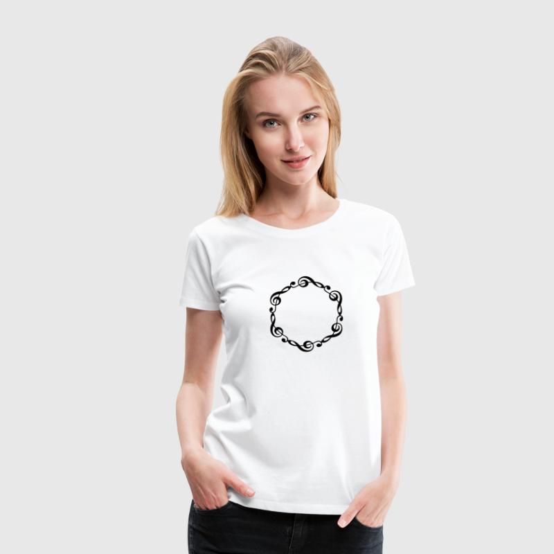Music notes violin clef frame YOUR TEXT T-Shirts - Women's Premium T-Shirt