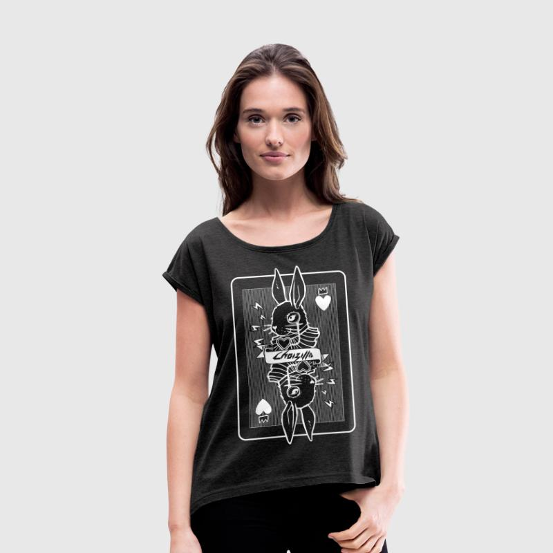 White rabbit playing card - Women's T-shirt with rolled up sleeves