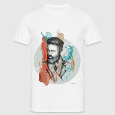 Illustration, Mann, Bart, carographic - Männer T-Shirt