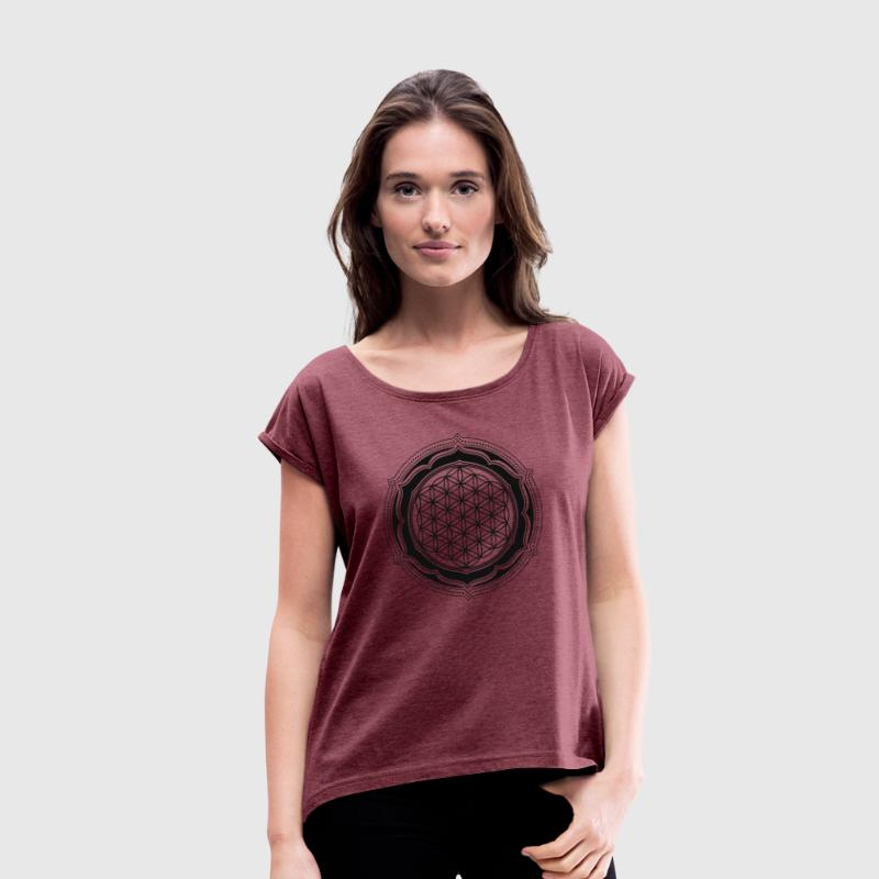 Flower of Life, Energy Symbol, Sacred Geometry T-Shirts - Frauen T-Shirt mit gerollten Ärmeln