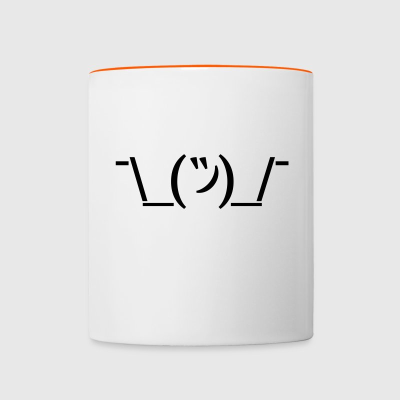 Tasse Kaffeebecher Shruggie Emoticon Egal - Tasse zweifarbig